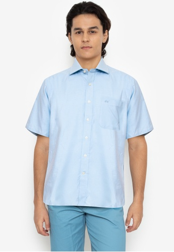Savile Row blue Short Sleeve  Button Up Shirt - Light Blue 9441BAA173EA5EGS_1