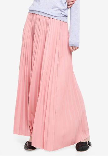 BYN pink Pleated Maxi Skirt 25011AA3B038A9GS_1
