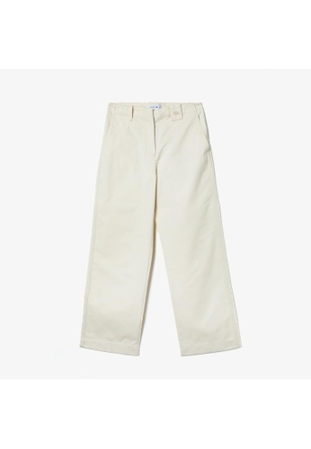 Lacoste white Women's Solid High-Waisted Flared Cotton Pants C362BAA7CD1A3DGS_1
