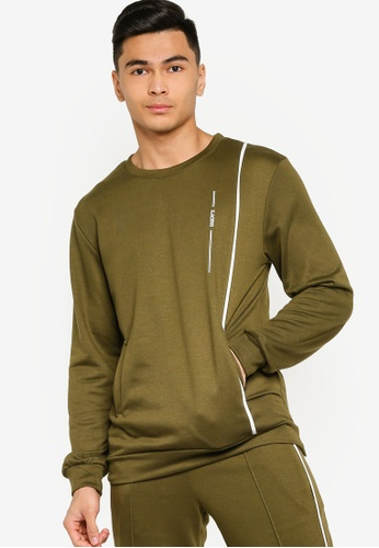 ZALORA ACTIVE green Active Contrast Piping Jumper 38F47AA9620069GS_1