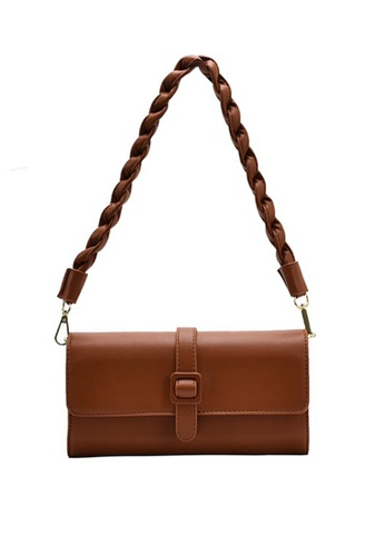 Lara brown Women's Twisted Strap Magnetic Buckle Underarm Bag (2 Straps Included) - Light Brown 6B499ACF933B35GS_1