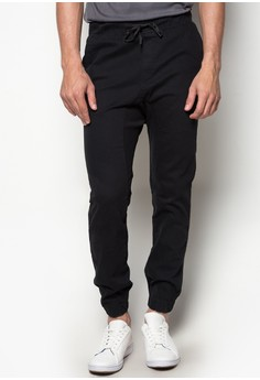Jiro Colored Jogger Pants with Cuff and Zipper Details on Hem