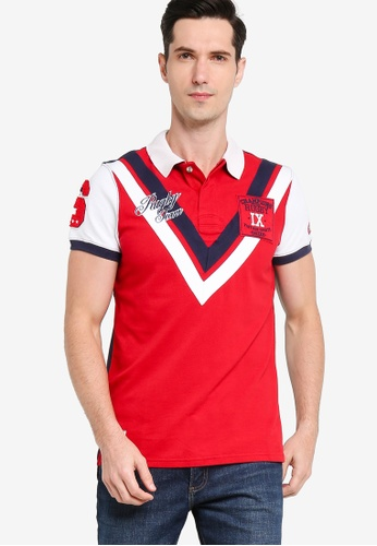 Sacoor Brothers red Men's Slim Fit Polo Piquet Shirt CD21CAAE100384GS_1