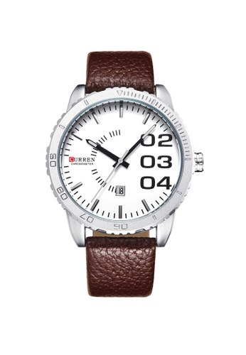 curren brown Curren 8125 Men's Fashion Date Display Leather Watch (White Brown) CU537AC75TCMMY_1