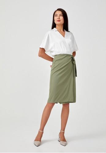 Love, Bonito green Elaise Satin Wrap Dress 2BFADAA3135C87GS_1
