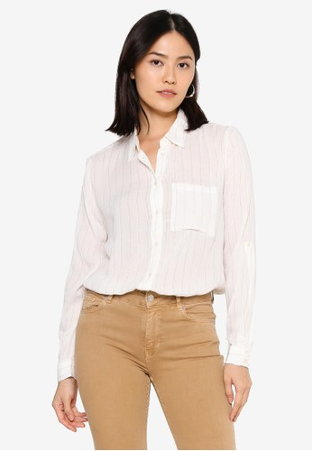 ONLY white Viola Long Sleeve Lurex Shirt BC28AAA69A9A9EGS_1