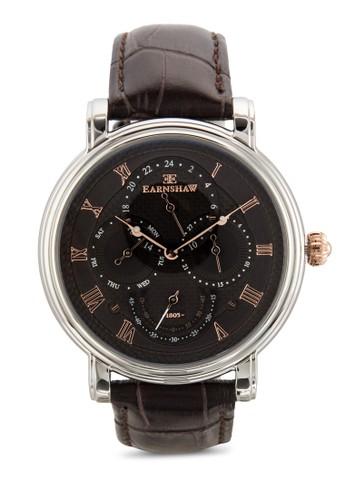 Longcase 大日曆圓框真皮手錶, 錶類, 飾品zalora退貨配件