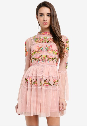 Frock and Frill pink Caralisa Embroidered Dress With Individual Tassels 4F778AA6DFA33DGS_1