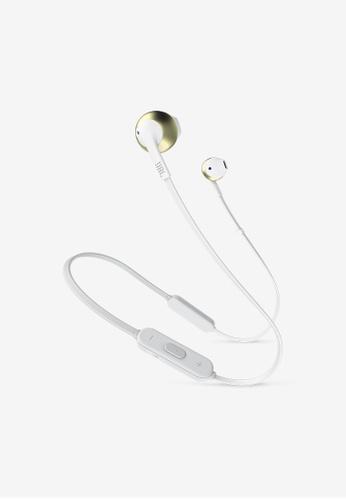 JBL gold JBL T205BT Wireless earbud headphones with Travel Adaptor 91D30AC4633D66GS_1