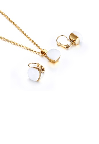 Glamorousky white Fashion and Simple Plated Gold Geometric Square 316L Stainless Steel Necklace and Earrings Set with White Cubic Zirconia 6E8C4AC7B436CEGS_1