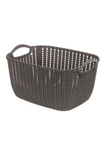 HOUZE HOUZE - Braided Storage Basket with Handle (Medium: 29x22.5x16.5cm) - Coffee A9661HL47D1593GS_1