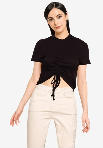 MISSGUIDED black Ribbed Ruched Seam Short Sleeve Crop Top 4EC1DAA5C54E6CGS_1