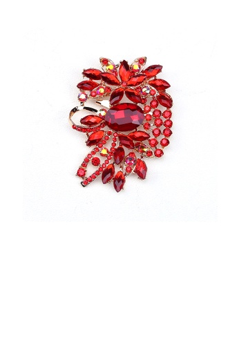 Glamorousky red Fashion Bright Plated Gold Geometric Pattern Brooch with Red Cubic Zirconia 4BAE8ACC8090D9GS_1