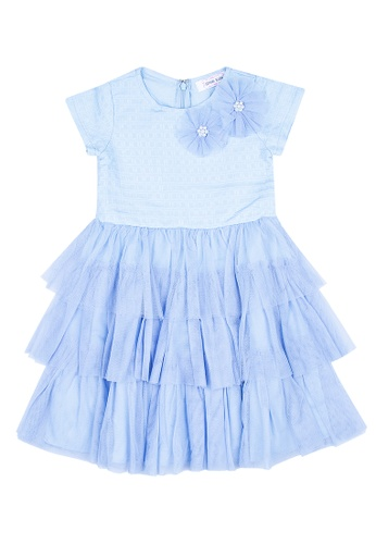 Great Kids blue Round Neck Short Sleeves Tiered Dress With Tulle Accent 2CB38KA7457C10GS_1