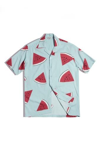 Twenty Eight Shoes 藍色 VANSA 復古西瓜圖案短袖衬衫  VCM-Sh2101202 6E376AA9479172GS_1