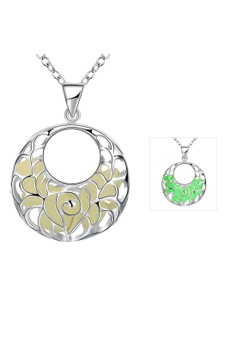 YGN010-A Two Circle Shaped With Night Fluorescent Green Pendant Necklace Party Jewelry