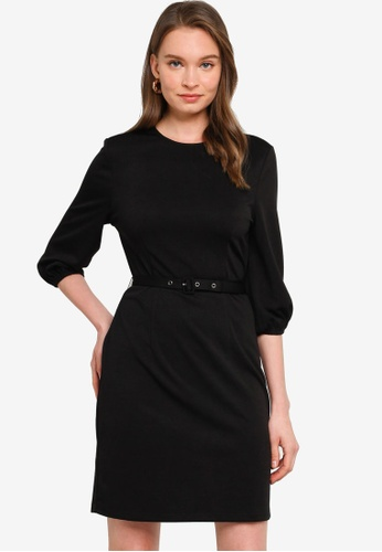 ZALORA WORK black Puff Sleeve Dress With Belt 78BA2AA056FBFCGS_1