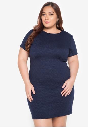 Maldita X navy Linda Plus Size Textured Dress MA587AA0JCIJPH_1