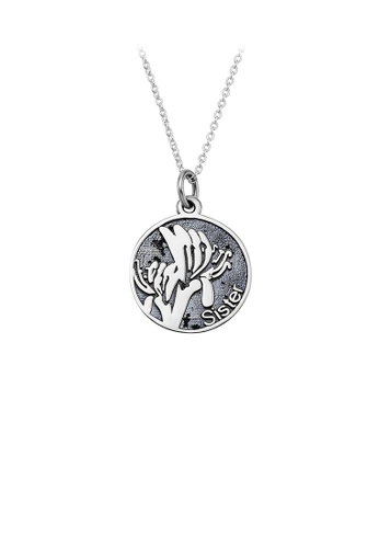 Glamorousky silver 925 Sterling Silver Fashion Elegant Lily Geometric Round Pendant with Necklace EE126AC255DC1DGS_1