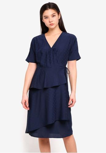 ICHI blue and navy Carma Dress 87D13AA85A1BBFGS_1