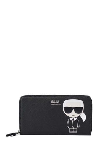 KARL LAGERFELD black K/Ikonik Cont Zip Wallet 76219AC5CACACFGS_1