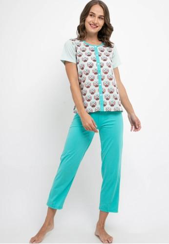 Puppy blue Pyjama Pijama Short Sleeve Long Pants Sleepwear E4933AABE065D0GS_1