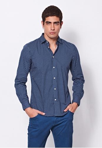 Sisley blue Printed Shirt. 3D6A3AA83C985CGS_1