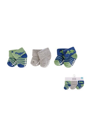 Little Kooma grey and green and blue New Born Baby Terry Socks 3 Pack 00374 - 1204 Dinosaur 05637KA1077125GS_1