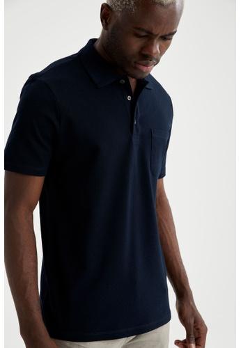 DeFacto navy Short Sleeve Cotton Polo T-Shirt 36804AA79F9A9DGS_1