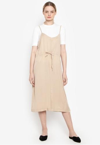 Susto The Label beige Amberly Waist Tie Dress 2DAB4AA5AEA649GS_1