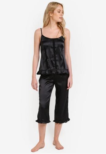 Impression black Satin Camisole with Knee Length Pants Set IM679AA0RI4ZMY_1