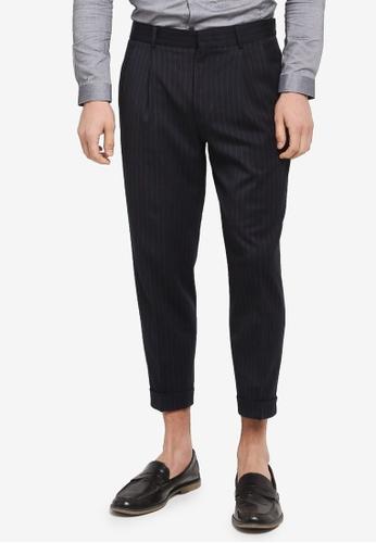 Topman blue Pinstripe Tapered Trousers 137B5AA0FFA2CAGS_1