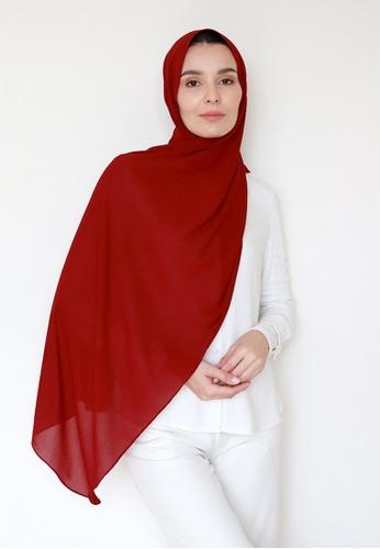VELRIA red WAFA Textured Chiffon Shawl in Maroon ED1E8AA820223AGS_1