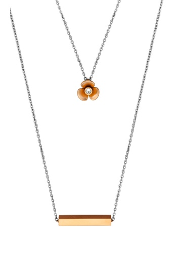 Esprit gold ESPRIT [Orchid] Two-Tone Silver & RoseGold Stainless Steel Necklace (42 cm + 3 cm extension) 55B78AC36E9F09GS_1