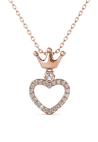 Her Jewellery gold Princess Crown Pendant (Rose Gold) - Made with premium grade crystals from Austria FA919AC4DC43F9GS_1