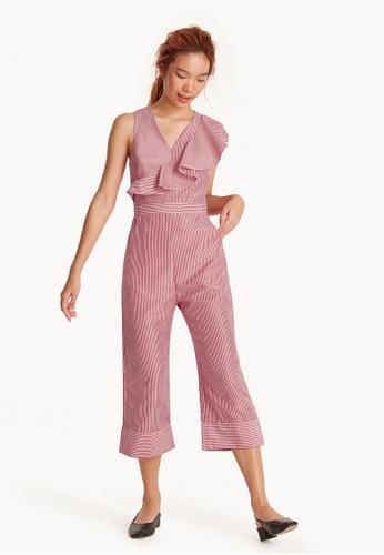 5b2539347 Buy Pomelo V Neck Striped Ruffle Jumpsuit Online
