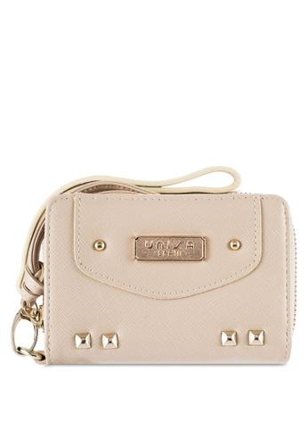Unisa beige Saffiano Medium Zip-Up Wallet UN821AC12OYDMY_1