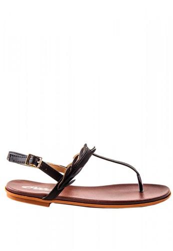 Otto black T Bar Slide Sandals OT407SH0K8JEPH_1