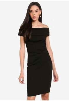 4864d2f8 Goddiva black Vicky Pattison Buckle Bardot Midi Dress F0283AA34436CCGS_1