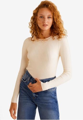 Mango beige Ribbed Knit Sweater DB4E5AA6B5BAAFGS_1