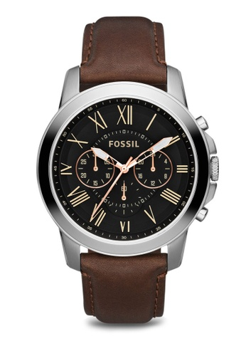 Fossil black and brown Grant Chronograph Leather Watch FS4813 FO313AC28TTRSG_1