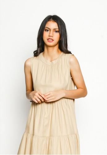 Valino beige VALINO LADIES KHAKI TIERED DRESS 7AE2DAA6897CDFGS_1