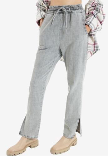 Trendyol grey High Waist Drawstring Jeans B2A5CAA86F0201GS_1