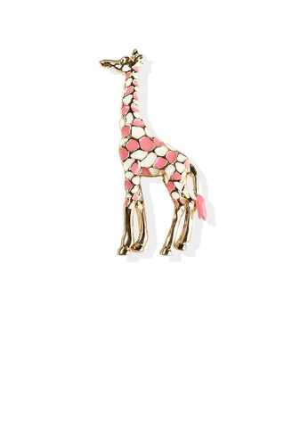 Glamorousky silver Simple Personality Plated Gold Pink Giraffe Brooch D7C5AAC59D76D4GS_1