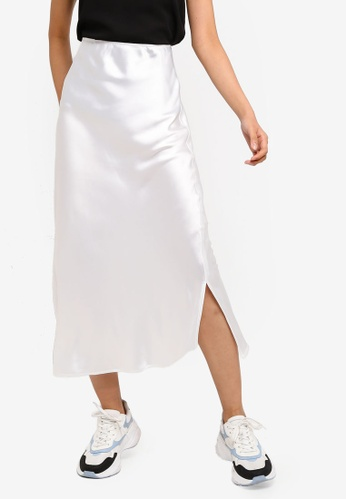 55b1fa2074 Buy TOPSHOP Split Side Satin Bias Midi Skirt Online on ZALORA Singapore