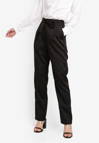 ZALORA BASICS black Basic Belted Cigarette Pants 458B4AACA2A5D4GS_1