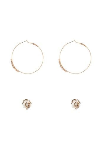 ALDO 灰色 珍珠鉚釘及鑽飾圓圈耳環 A014AACAC54FFCGS_1