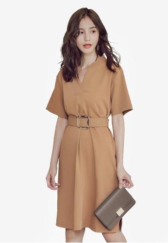 YOCO brown V-Neck Dress With Belt EB547AA0EAFBC6GS_1