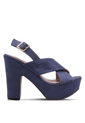 Nose 海軍藍色 交叉繞帶粗跟涼鞋 521DDSH3E29008GS_1