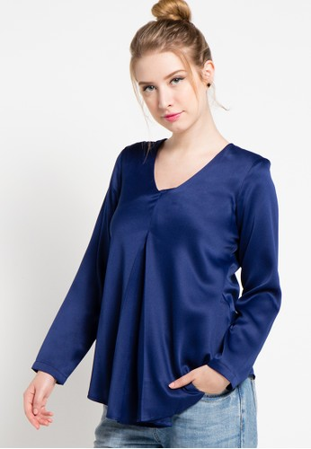 WHITEMODE navy Jaylee Blouse WH193AA17YQSID_1